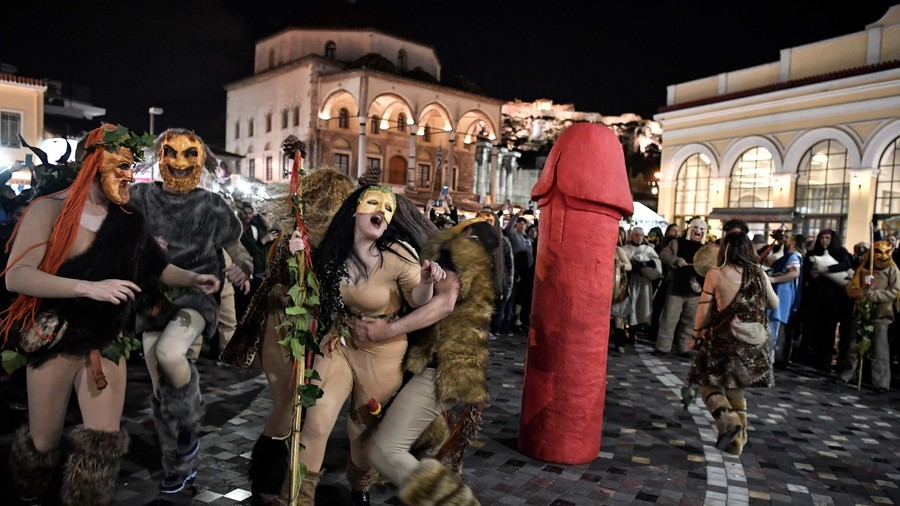 Penis de Milo? Phallic parade honors ancient Greek god of fertility and wine making (VIDEO)