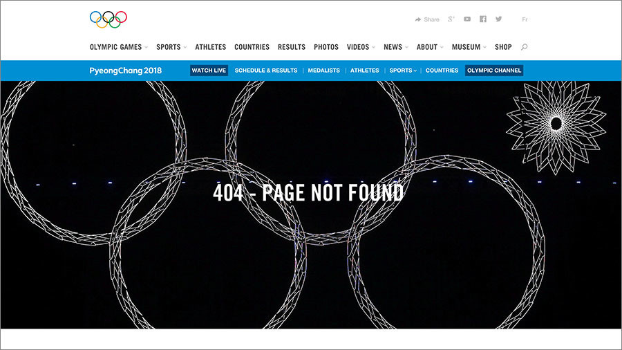Sochi 2014 Olympic ring failure featured on IOC's '404 error' page