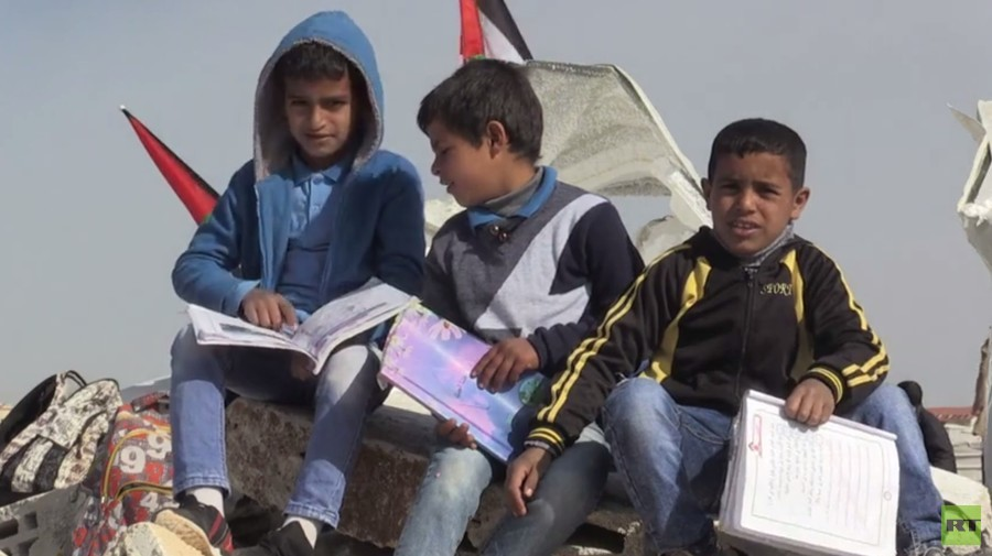 Children protest after Israel demolishes only school in Palestinian community (VIDEO)