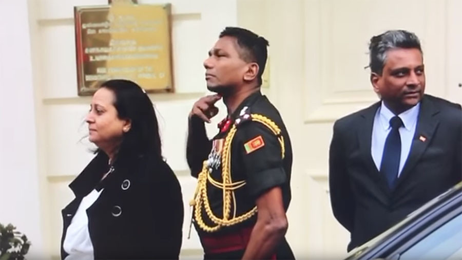 Calls to expel Sri Lankan military official filmed making 'throat-cut gestures' to Tamils (VIDEO)