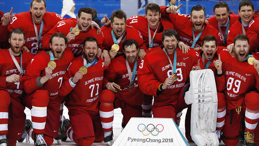 'It's OK, we understand': IOC won't sanction 'excited' hockey heroes for singing Russian anthem