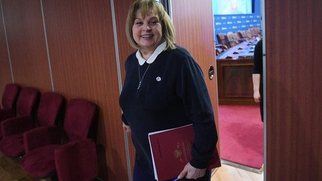 Chair of the Russian Central Elections Commission Ella Pamfilova after a meeting of the commission © Kirill Kallinikov