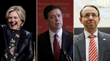 Hillary Clinton, Former FBI Director James Comey (C), U.S. Deputy Attorney General Rod Rosenstein (R) © Reuters