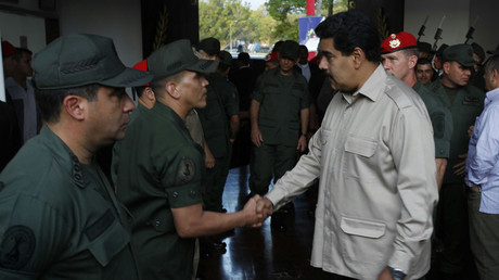 FILE PHOTO Venezuela's President Nicolas Maduro with soldiers © Reuters