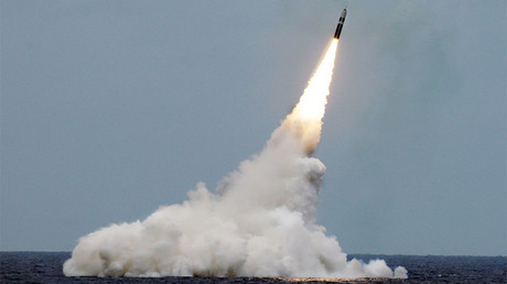 FILE PHOTO: An unarmed Trident II D5 missile is launched from the Ohio-class ballistic-missile submarine USS Maryland © U.S. Navy