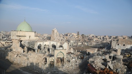 The ruins of al-Nuri Mosque are seen in Mosul, Iraq, on January 4, 2018. © Khalil Dawood