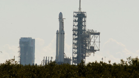 SpaceX's first Falcon Heavy rocket sits on launch pad 39A at Kennedy Space Center © Mike Brown