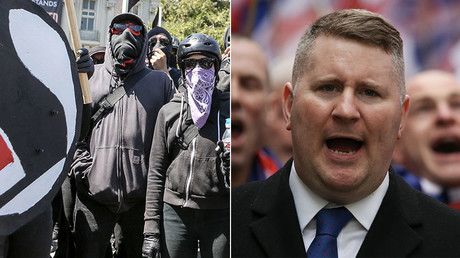 Antifa protesters (L), Paul Golding, leader of the far-right organisation Britain First marches (R) © AFP