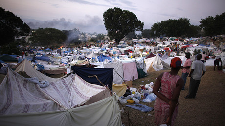 FILE PHOTO: View of a makeshift refugee camp on the golf course of the Petion Club in Port-au-Prince © Jorge Silva