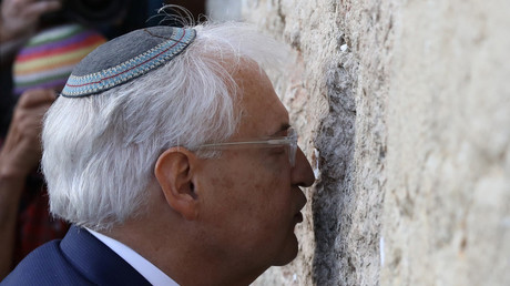 David Friedman, US Ambassador to Israel, kisses the Western Wall in Jerusalem's Old City. May 15, 2017 © Ammar Awad
