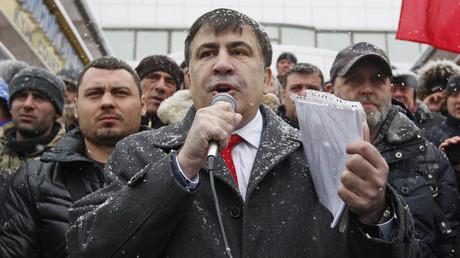 Former Georgian president and ex-Odessa Governor Mikheil Saakashvili speaks to his supporters in Kiev, Ukraine, on January 19, 2018. © Serg Glovny