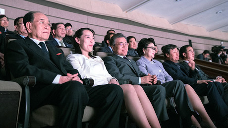 Kim Yo Jong (2nd Left), the sister of North Korea's leader Kim Jong Un, watch North Korea's Samjiyon Orchestra's performance in Seoul, South Korea, February 11, 2018. © Yonhap