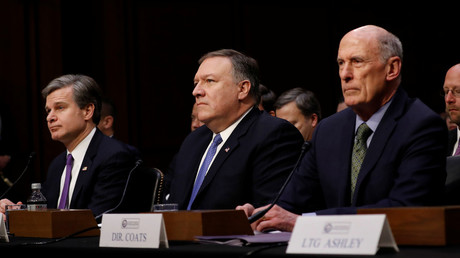 FBI Director Christopher Wray,  CIA Director Mike Pompeo, and Director of National Intelligence DNI Dan  Coats testify before the Senate Intelligence Committee, February 13, 2018 © Aaron P. Bernstein