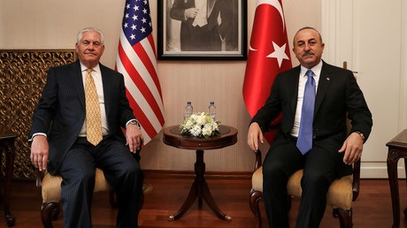 Turkish Foreign Minister Mevlut Cavusoglu and US Secretary of State Rex Tillerson in Ankara, Turkey, February 16, 2018 © Cem Ozdel