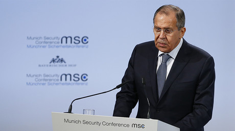 Russian Foreign Minister Sergei Lavrov talks at the Munich Security Conference in Munich, Germany, February 17, 2018 © Ralph Orlowski