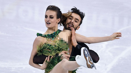 Flash dance: Costume malfunction leaves French Olympic figure skaters red-faced (PHOTOS)