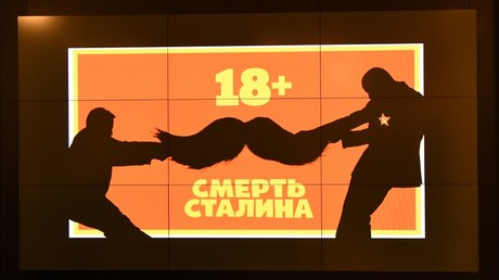 Advertisement of the film The Death of Stalin on a screen at Pioner cinema, Moscow © Ekaterina Chesnokova