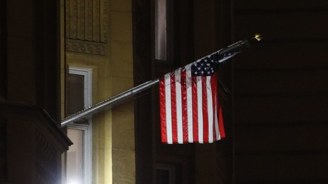 A US flag on the US Embassy building © Anton Denisov