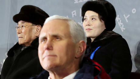 US Vice President Mike Pence, North Korea's nominal head of state Kim Yong Nam, and North Korean leader Kim Jong Un's younger sister Kim Yo Jong attend the Winter Olympics opening ceremony in Pyeongchang, South Korea February 9, 2018. © via Yonhap