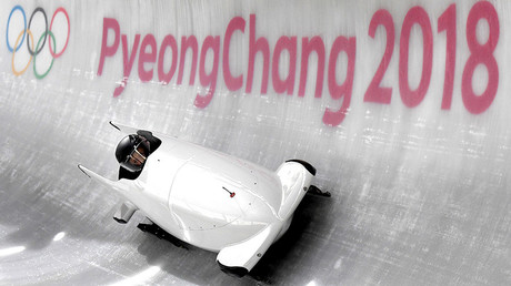 Russia's team leader and driver Nadezhda Sergeeva takes a turn in the first women's unofficial bobsleigh training session during the Pyeongchang 2018 Winter Olympic Games © Mark Ralston