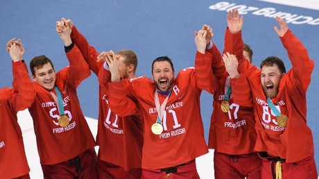 Winning Russian players during the medal ceremony of men's ice hockey tournament at the 2018 Winter Olympics in Pyeongchang. © Alexey Filippov