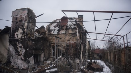 A building in the village of Spartak, Donetsk Region, which was hit by shelling © Valeriy Melnikov