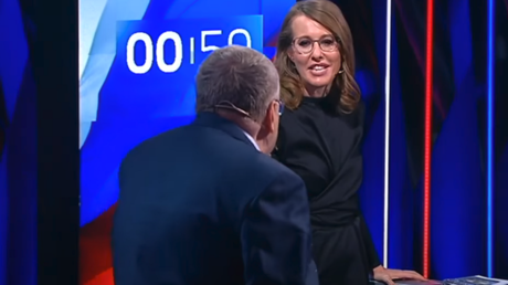 Russian Presidential candidates Vladimir Zhirinovsky and Ksenia Sobchak at the TV debate hosted by Rossya 1 channel on February 28, 2018.