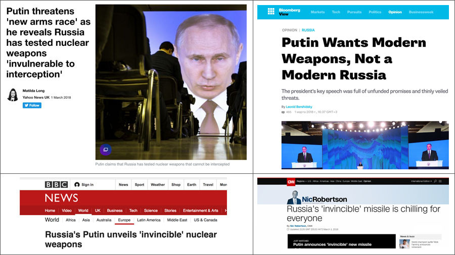 Western media accuses Putin of 'starting new arms race' after 'terrifying' nuclear missile 'boasts'