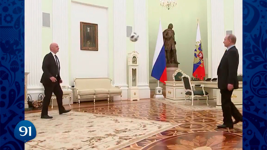 Putin juggles ball in '100 days to Russia World Cup' clip (VIDEO)