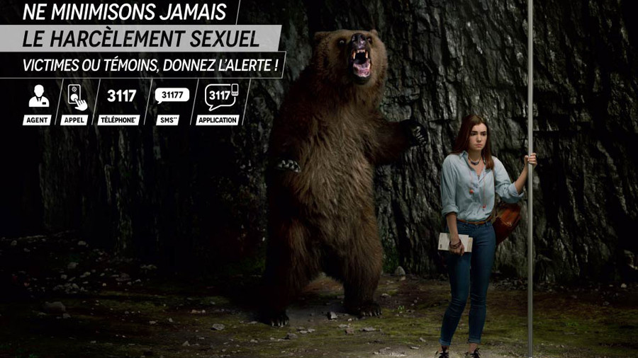 Not bears or sharks, but men: French anti-harassment campaign raises eyebrows among women
