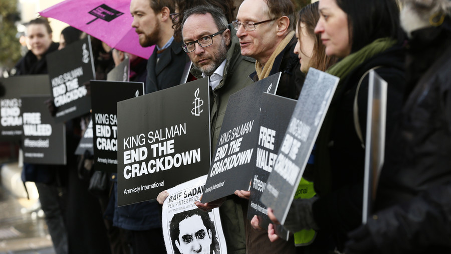 'Let him go': Wife of jailed blogger Raif Badawi begs Saudi prince to free him during UK trip