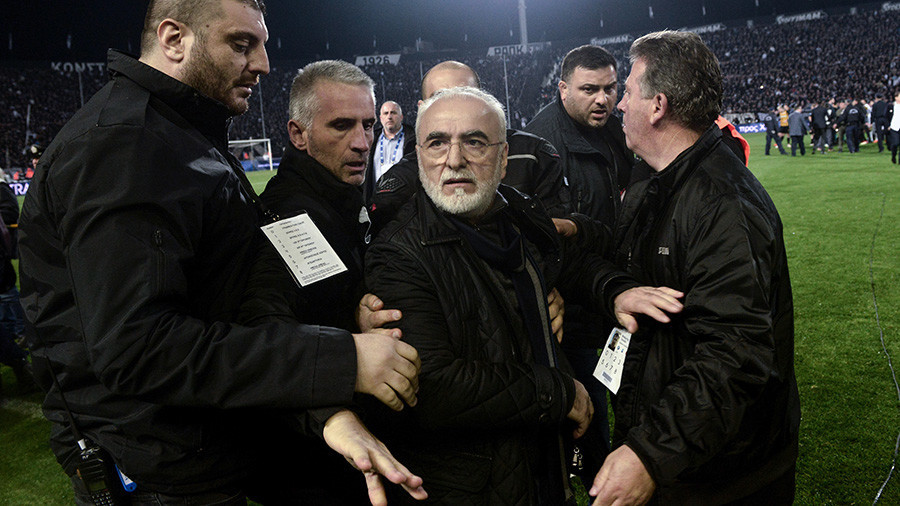 Greek football match abandoned after gun-toting owner storms pitch to confront referee