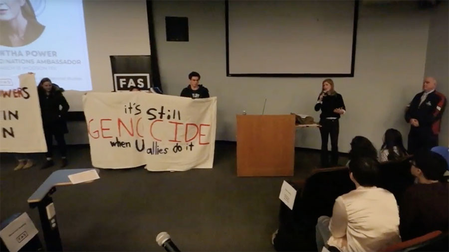 'US empowers Yemen genocide': Samantha Power's speech stalled by student protesters (VIDEO)