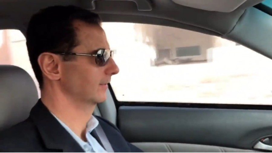 Watch Assad drive through the streets of Ghouta (VIDEO)
