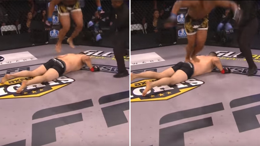 MMA fighter does flip off his KO'd opponent's back, gets disqualified (VIDEO)
