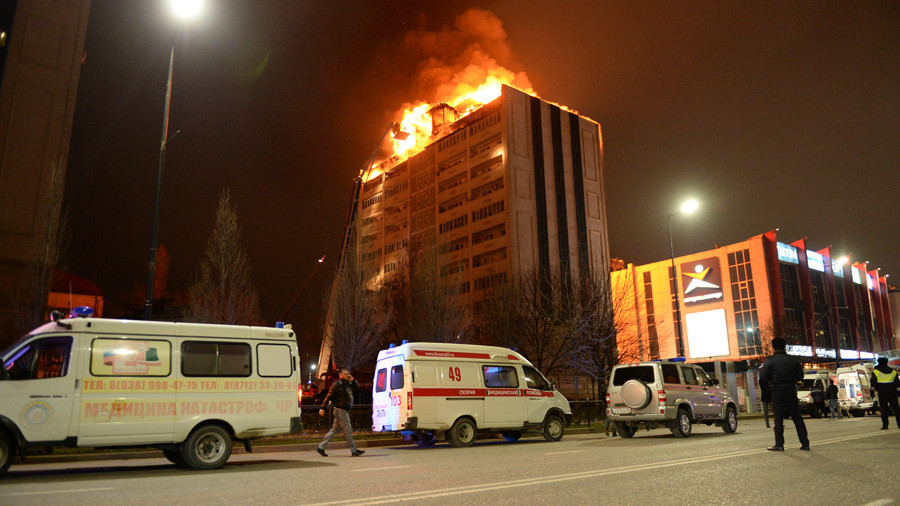 Fire engulfs roof of high-rise in Russia's Chechnya (VIDEOS)