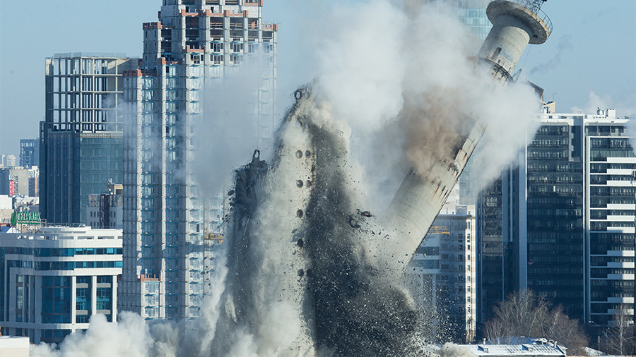 Ekaterinburg blows up 220ft Soviet TV tower in World Cup prep despite protests (VIDEO)