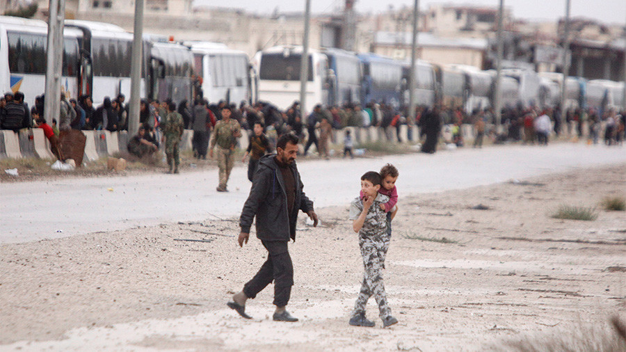Biggest convoy of evacuees leaves Syria's Eastern Ghouta