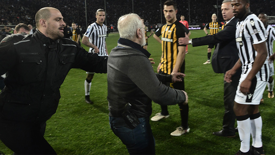 Gun-toting Greek football president handed 3-year ban for armed pitch invasion