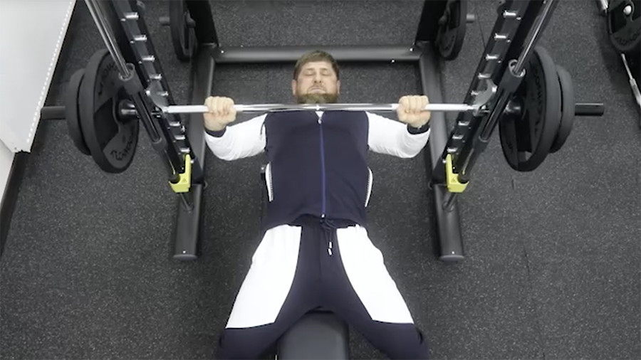 Kadyrov's bench-press challenge: Chechen leader pumps iron for presidential election