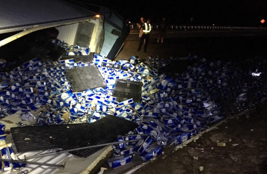 Wasted: Truck driver spills 60,000 bottles of beer in Florida