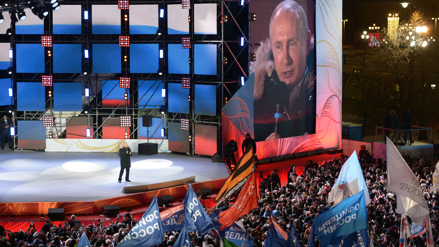 "Putin thanks voters for ""greatest support in modern Russia's history"""