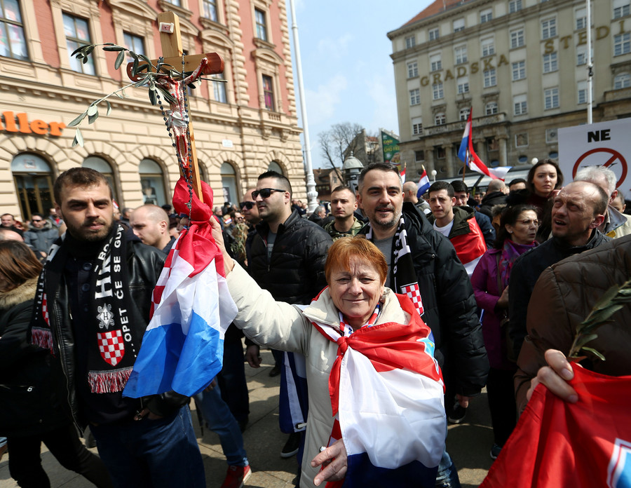 Croatian far-right demonstrators protest gay marriage, trans rights