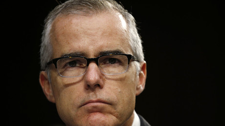 Acting FBI Director Andrew McCabe testifies before a Senate Intelligence Committee, 2017. © Kevin Lamarque