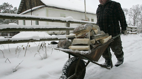 FILE PHOTO: A man prepares firewood at the village © Konstantin Chernichkin