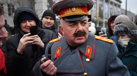 Journalist Pavel Lobkov dressed as Josef Stalin during an unauthorized rally staged on Triumfalnaya Square as part of the Voters' Strike © Komsomolskaya Pravda