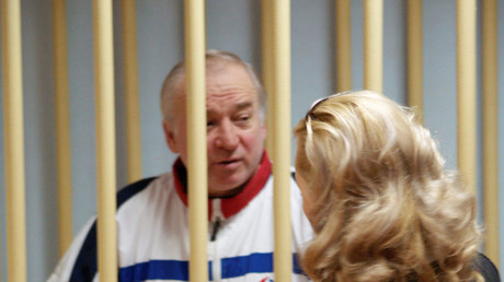 Sergei Skripal, a former colonel of Russia's GRU military intelligence service, looks on inside the defendants' cage as he attends a hearing at the Moscow military district court, Russia August 9, 2006. Picture taken August 9, 2006. © Kommersant/Yuri Senatorov