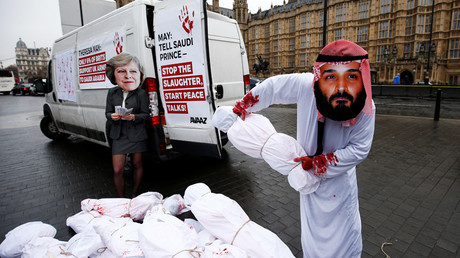 Activists from Avaaz stage a protest timed to coincide with the visit by Saudi Arabia's Crown Prince Mohammad bin Salman outside the Houses of Parliament in London, Britain, March 7, 2018 © Henry Nicholls