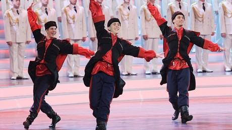 Alexandrov Russian Army Song and Dance Ensemble performs at a concert marking Defender of the Fatherland Day at the State Kremlin Palace © Grigoriy Sisoev