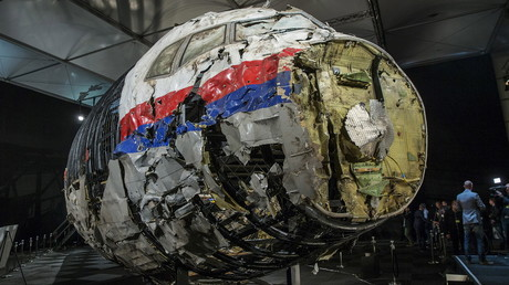 FILE PHOTO: The reconstructed wreckage of the MH17 airplane is seen in Gilze Rijen, the Netherlands, on October 13, 2015. © Michael Kooren